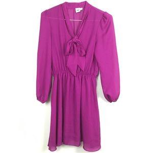 ASOS Purple Dress Size 8 Long Sleeve Tie Detail